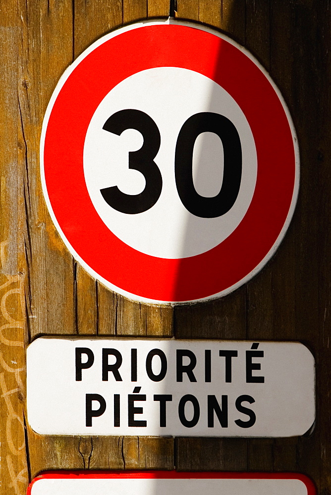 Close-up of a speed limit sign, Le Mans, France