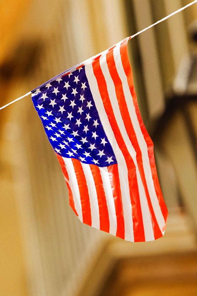 Close-up of an American flag, Sorrento, Sorrentine Peninsula, Naples Province, Campania, Italy