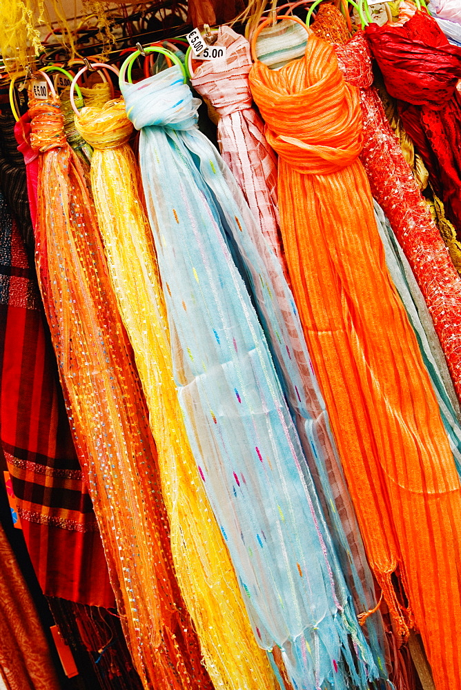 Close-up of stoles at a market stall, Sorrento, Sorrentine Peninsula, Naples Province, Campania, Italy