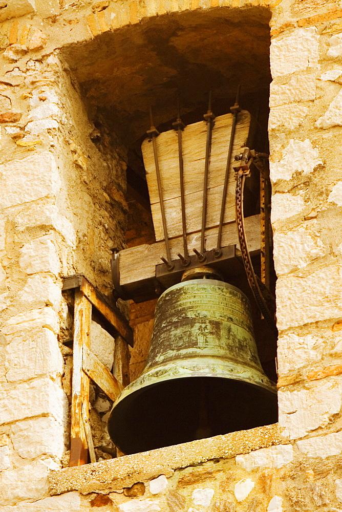 Low angle view of a bell tower, Musee De La Castre, Cote d'Azur, Cannes, Provence-Alpes-Cote D'Azur, France