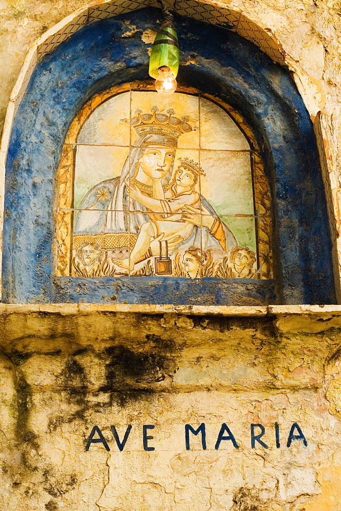 Low angle view of a painting of Ave Maria on the wall of a church, Positano, Salerno, Campania, Italy