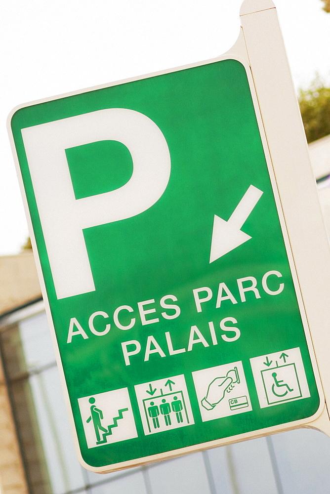 Close-up of a parking sign, Palais Des Festivals Et Des Congres, Cote d'Azur, Cannes, Provence-Alpes-Cote D'Azur, France