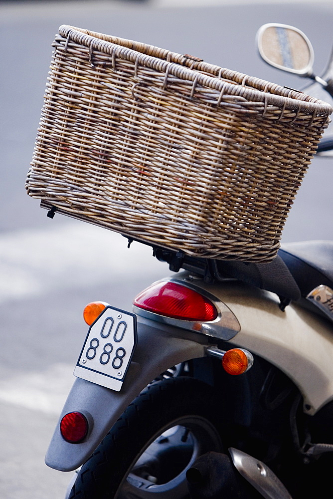 Wicker basket on a moped, Italian Riviera, Santa Margherita Ligure, Genoa, Liguria, Italy