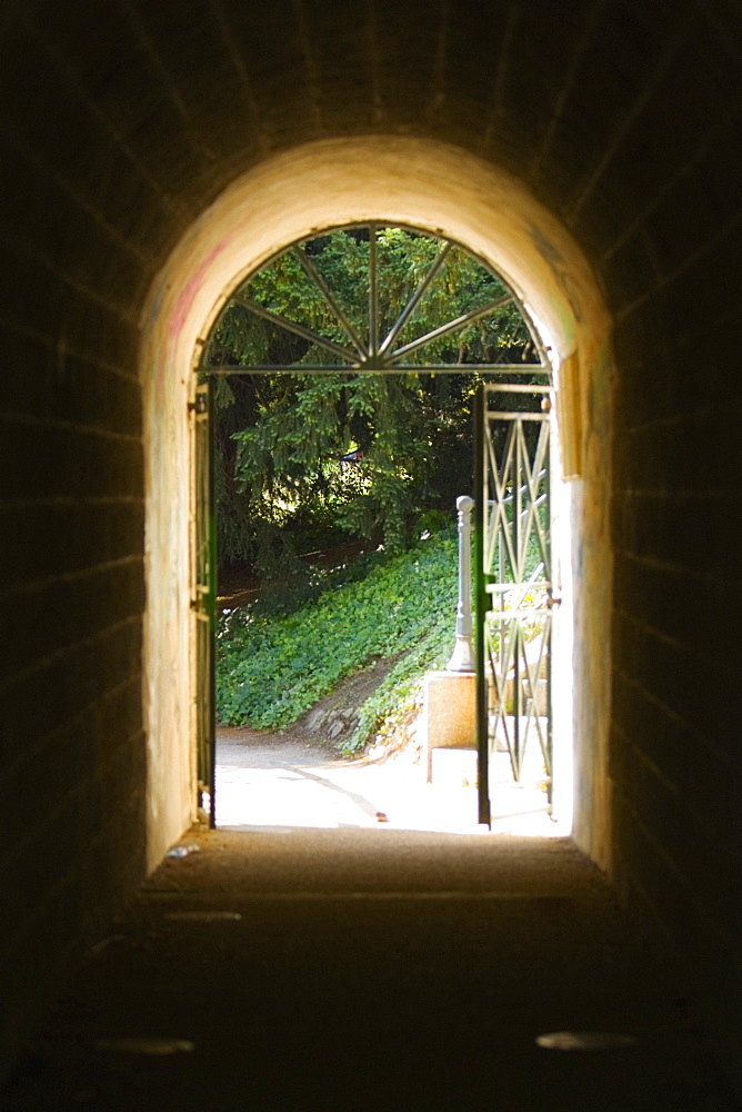 Archway of a tunnel, Pont Yssoir, Sarthe River, Le Mans, Sarthe, France