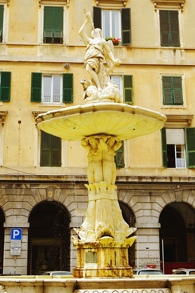 Fountain in front of a building, Piazza Colombo, Genoa, Liguria, Italy