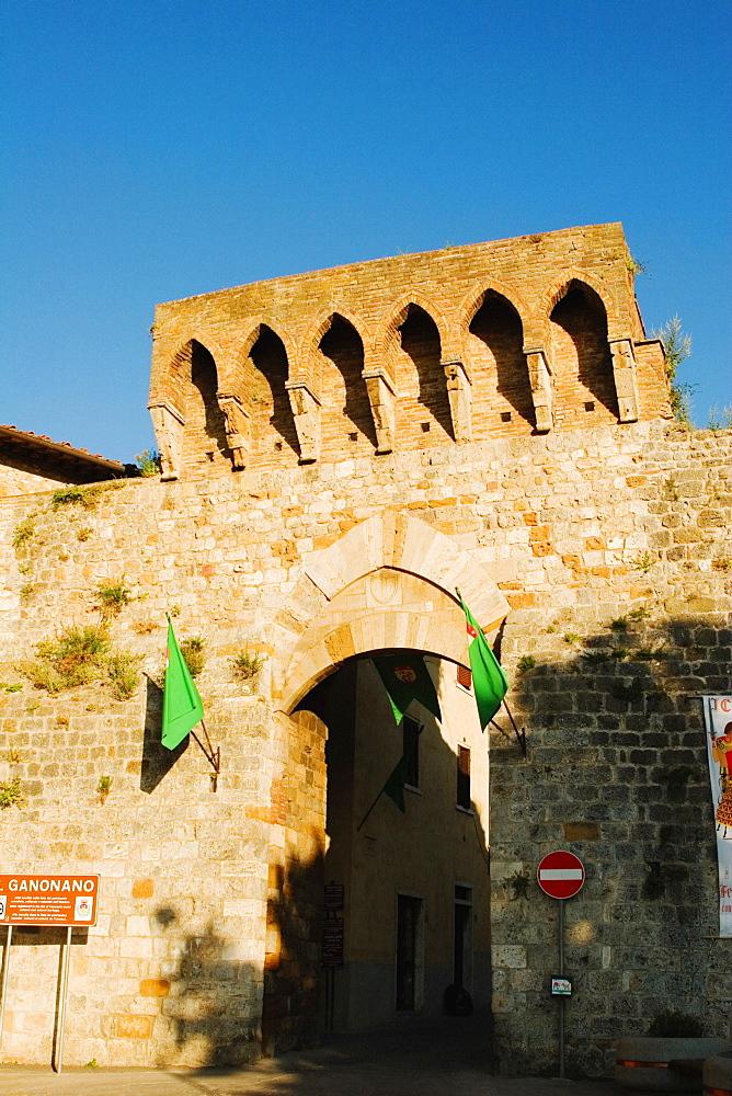 Entrance of a building, San Gimignano, Siena Province, Tuscany, Italy