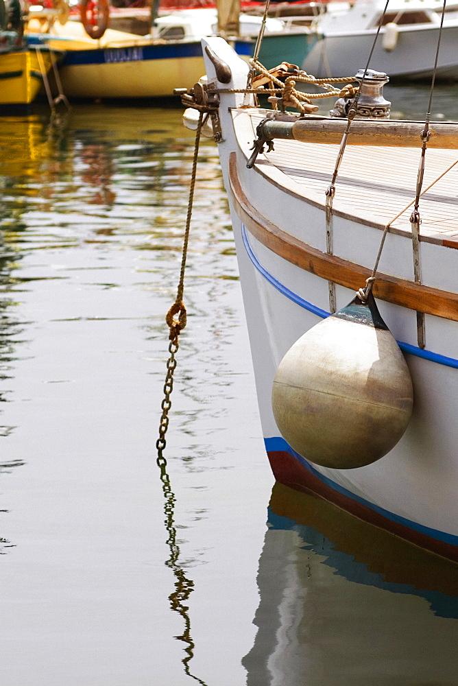 Boat moored at a harbor, Vieux Port, Cote d'Azur, Cannes, Provence-Alpes-Cote D'Azur, France