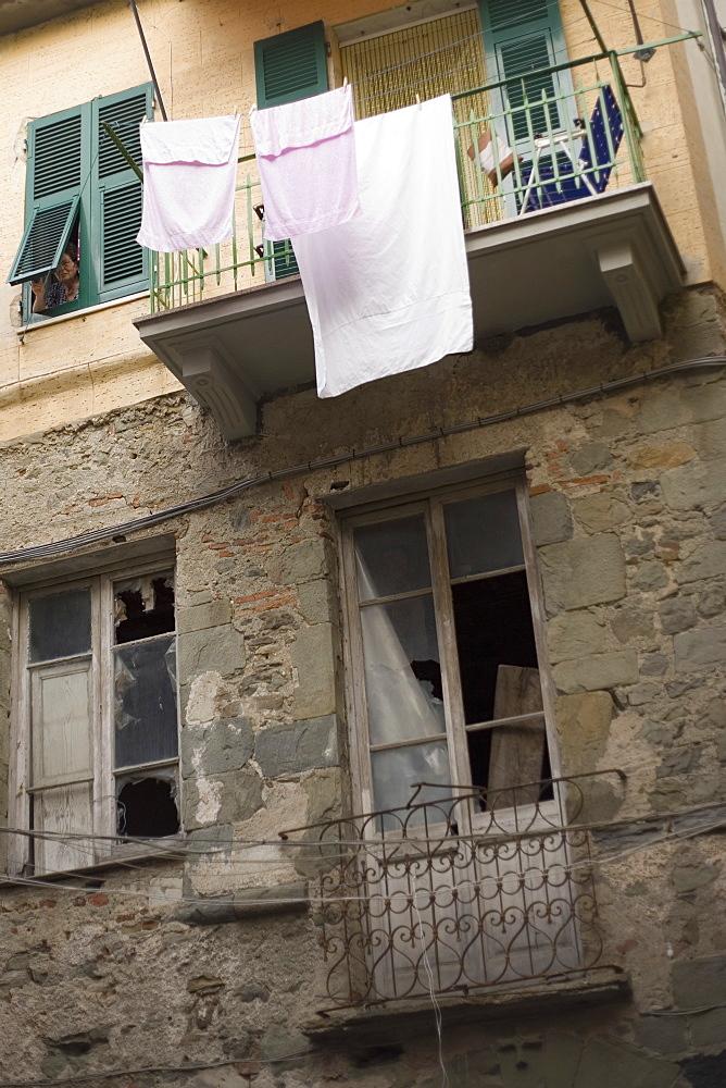 Clothes hanging to dry on a clothesline, Cinque Terre, La Spezia, Liguria, Italy