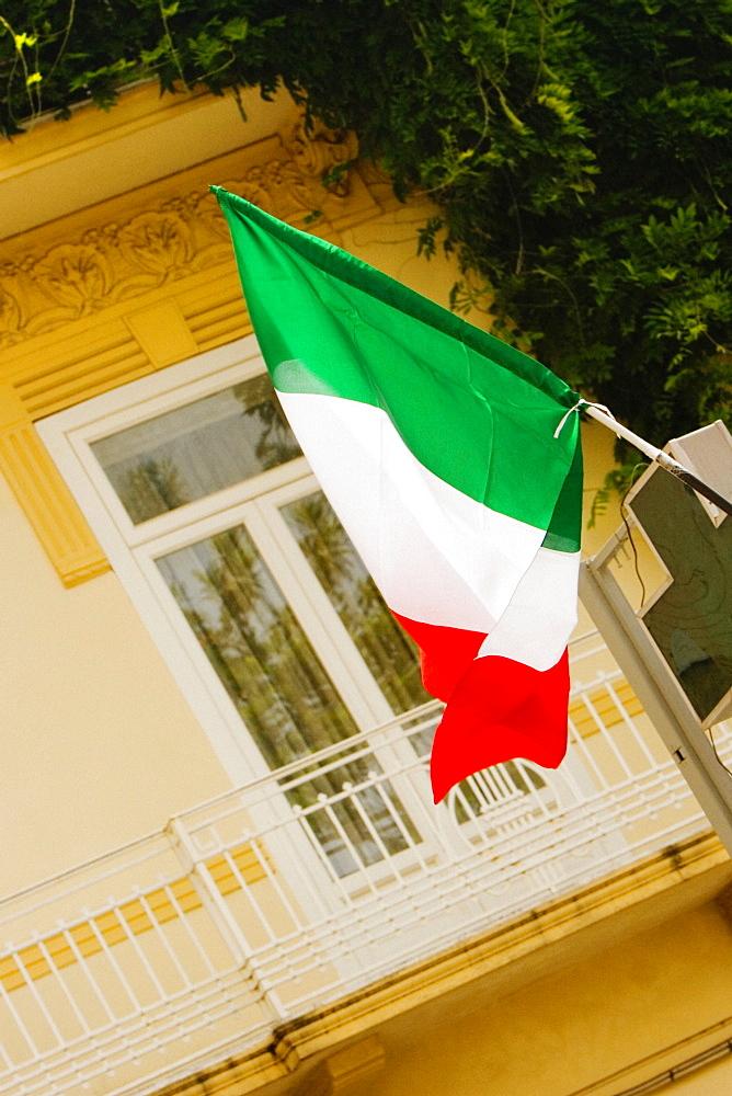 Low angle view of an Italian flag, Sorrento, Sorrentine Peninsula, Naples Province, Campania, Italy