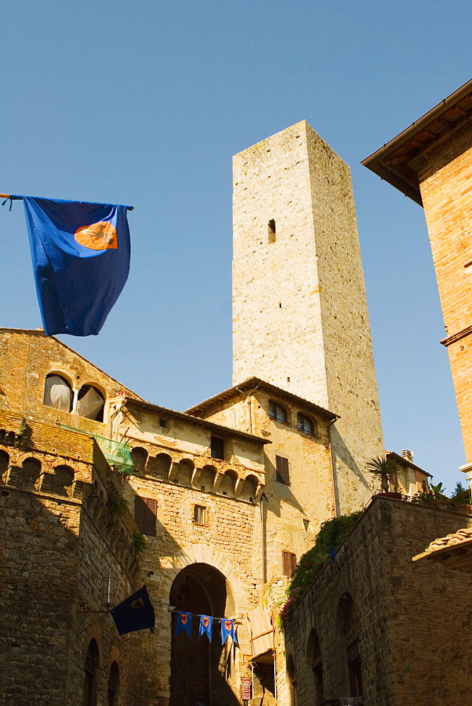 Low angle view of a tower, Torri Di San Gimignano, San Gimignano, Siena Province, Tuscany, Italy