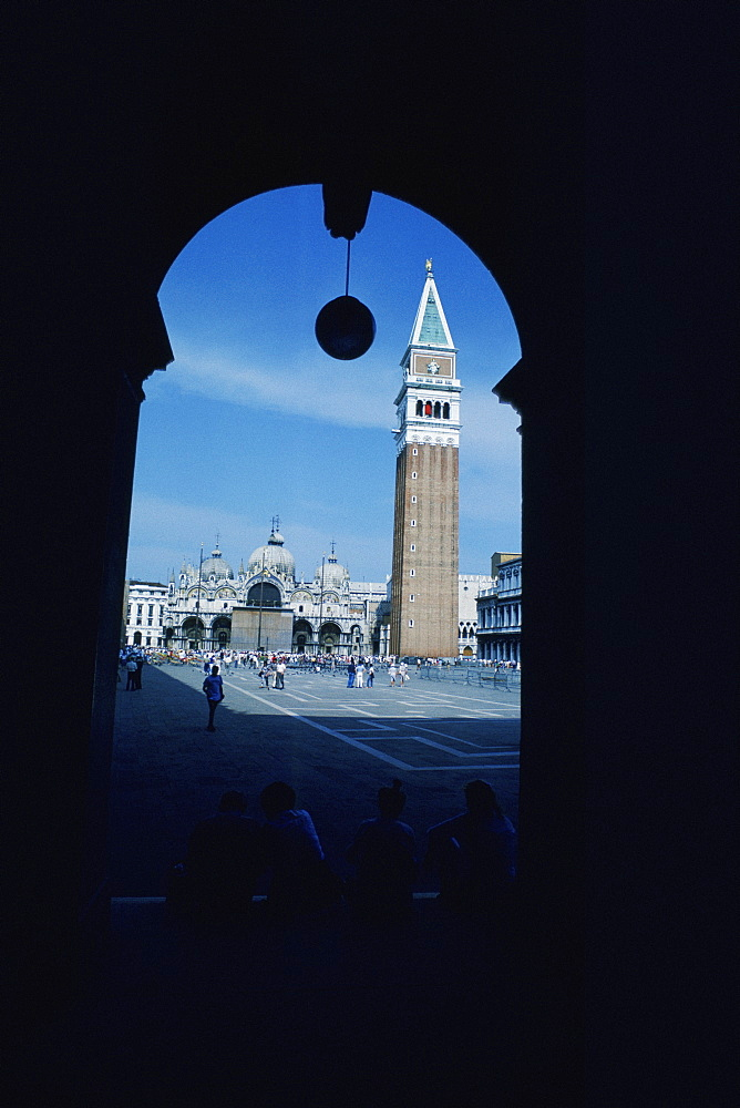 Cathedral viewed from an archway, St. Mark's Cathedral, St. Mark's Square, Venice, Veneto, Italy