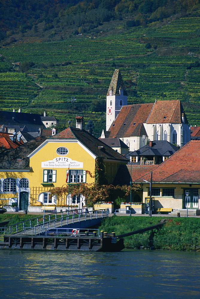 Dwellings in a village by the river, Danube River, Spitz, Austria