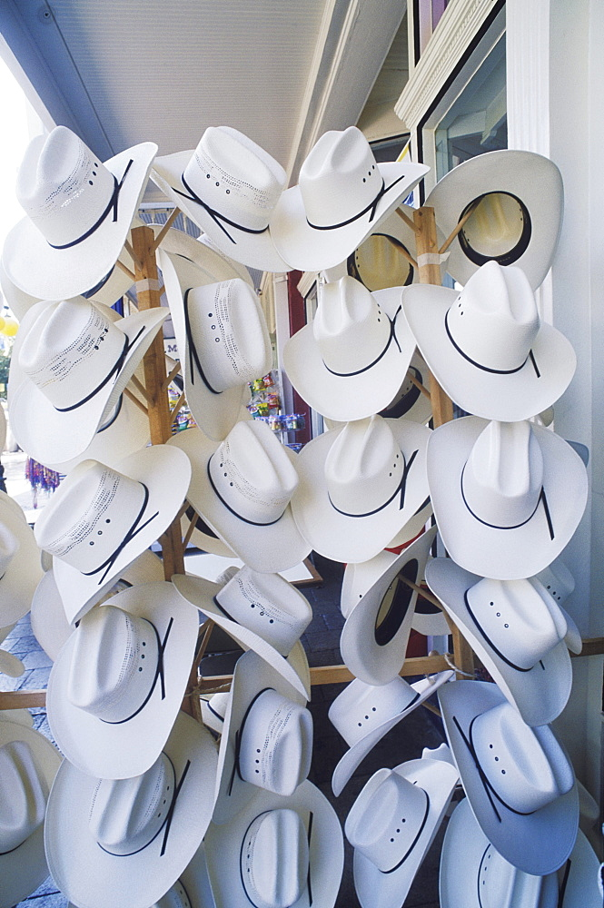 Cowboy hats hanging in a hat shop, Texas, USA - 788-2014