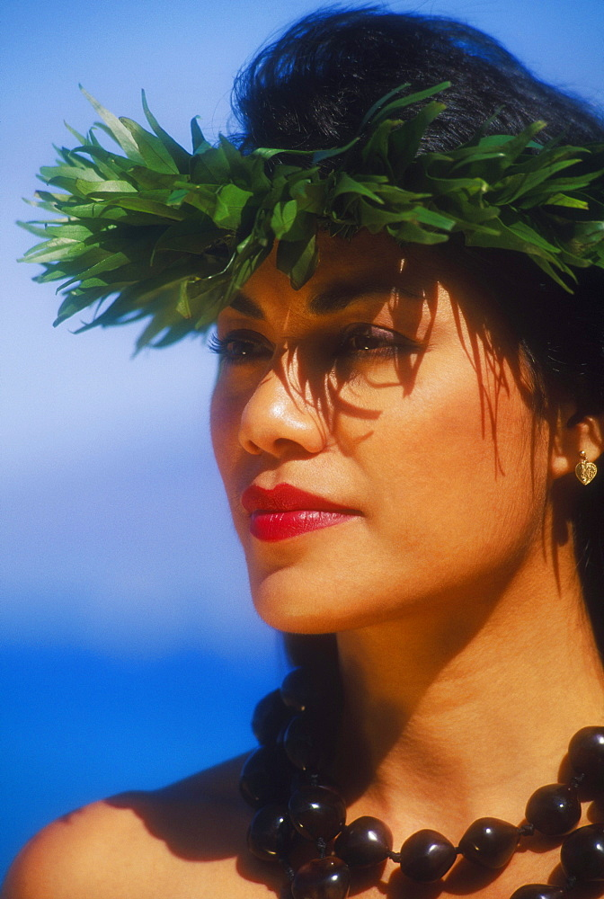 Close-up of a hula dancer wearing a necklace, Hawaii, USA