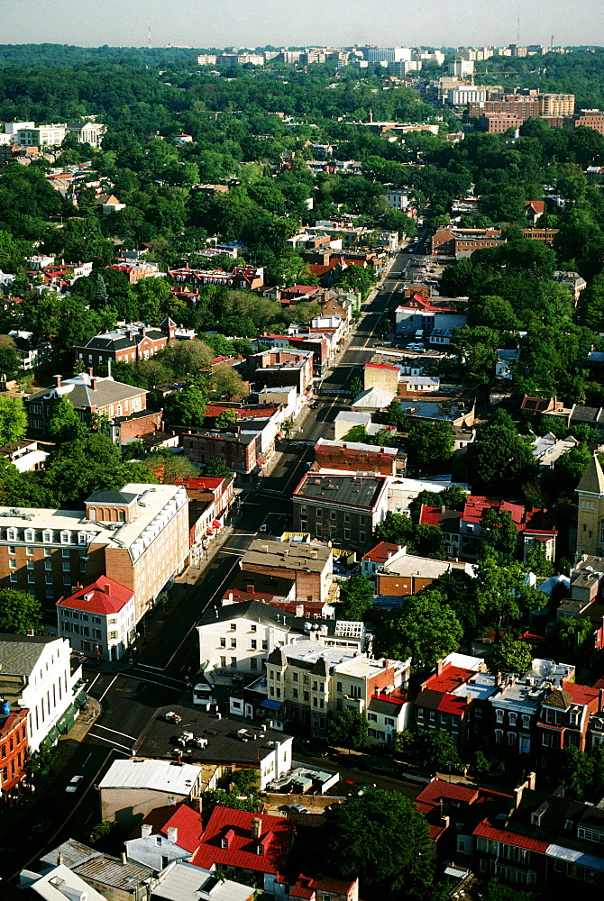 Aerial view of Georgetown looking along Wisconsin Ave., Washington , DC