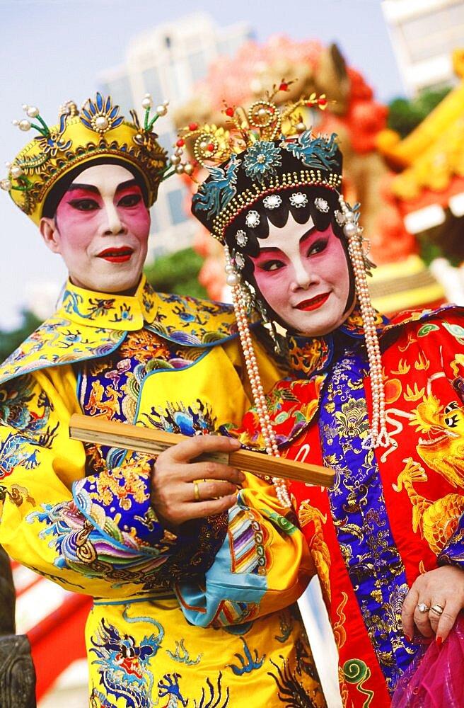 Two opera performers smiling, Hong Kong, China