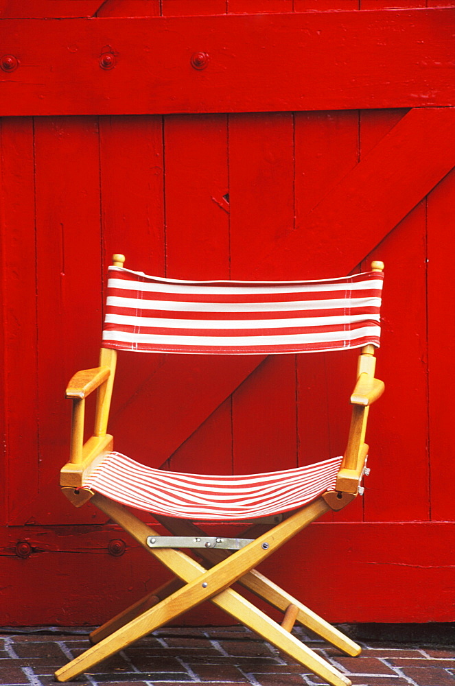 Close-up of a folding chair
