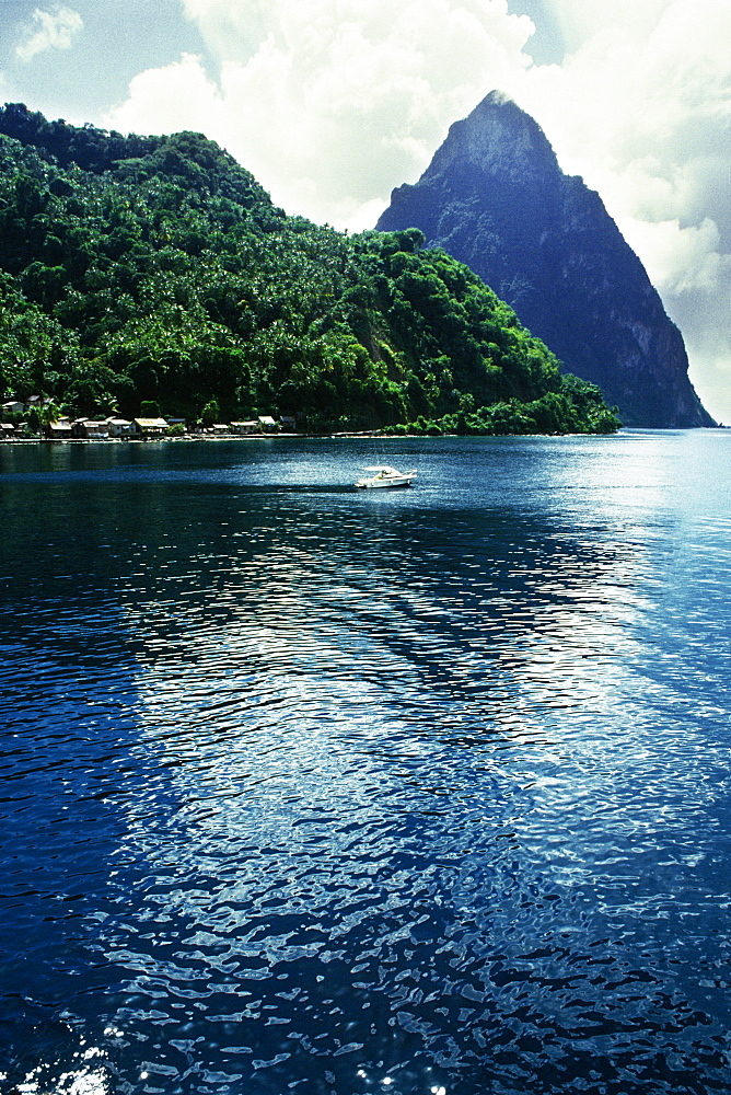 Low angle view of a volcanic mountain from the sea, St. Lucia