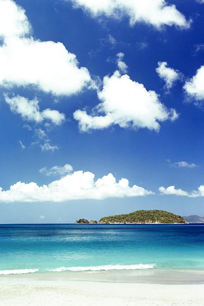 A beach seen under a vast sky, Caneel Bay, St. John, U.S. Virgin Islands