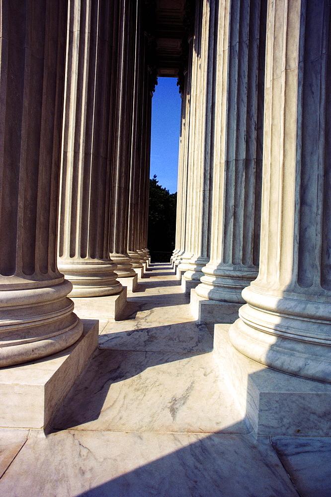 Close-up of columns of a government building, Lincoln Memorial, Washington DC, USA