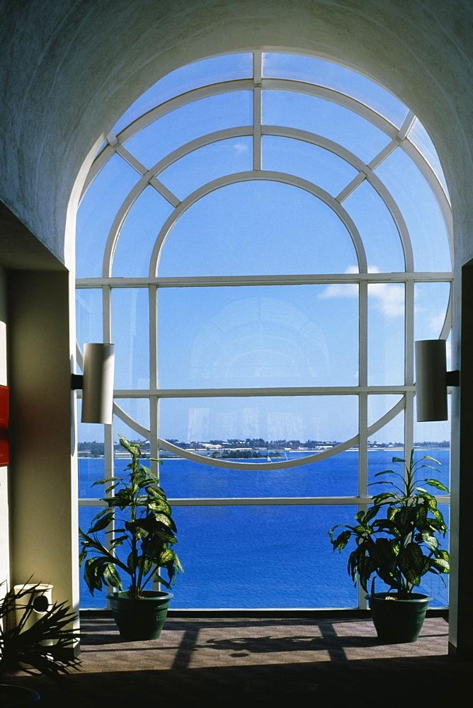 Seascape through a glass window, Castle harbor hotel, Bermuda