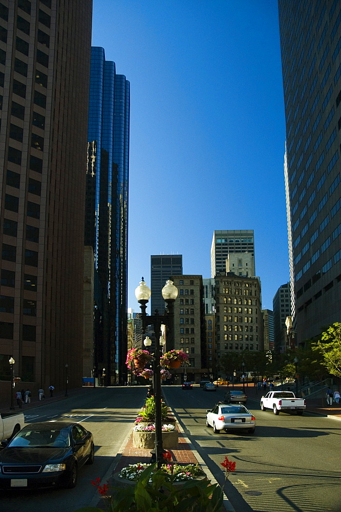 Skyscrapers on both sides of the road, Boston, Massachusetts, USA