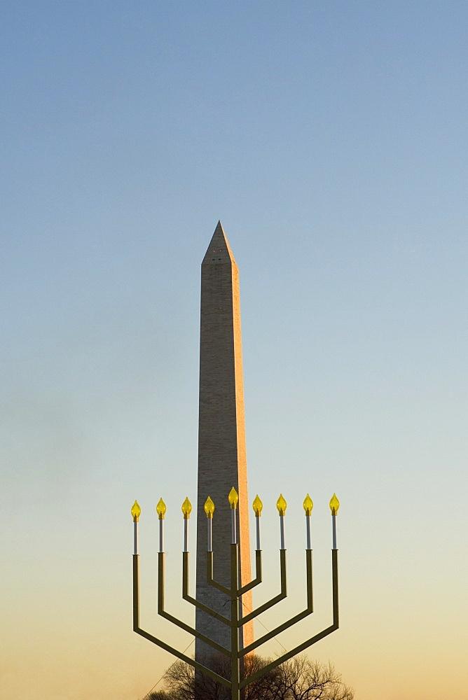 Menorah in front of a tower, Washington Monument, Washington DC, USA