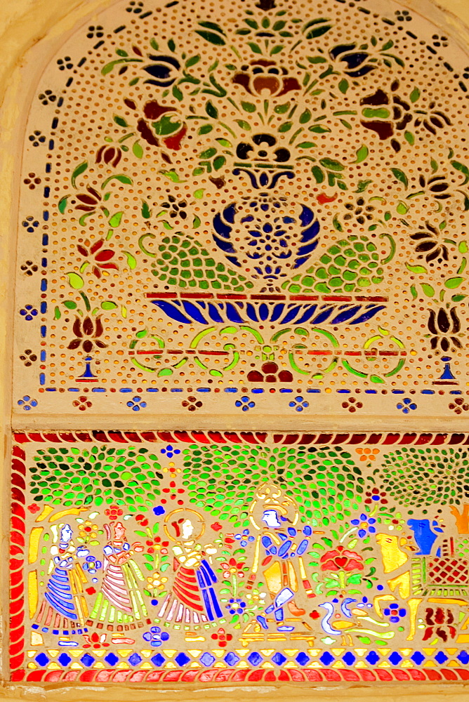 Low angle view of an inlay pattern, Amber Fort, Jaipur, Rajasthan, India