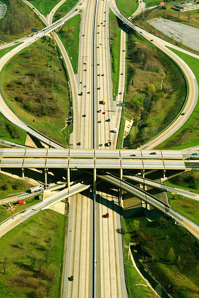 Aerial of expressway ramps , Baltimore BeltwayT2
