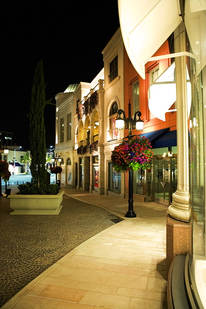 Sidewalk of Rodeo Drive at night, Los Angeles, California, USA