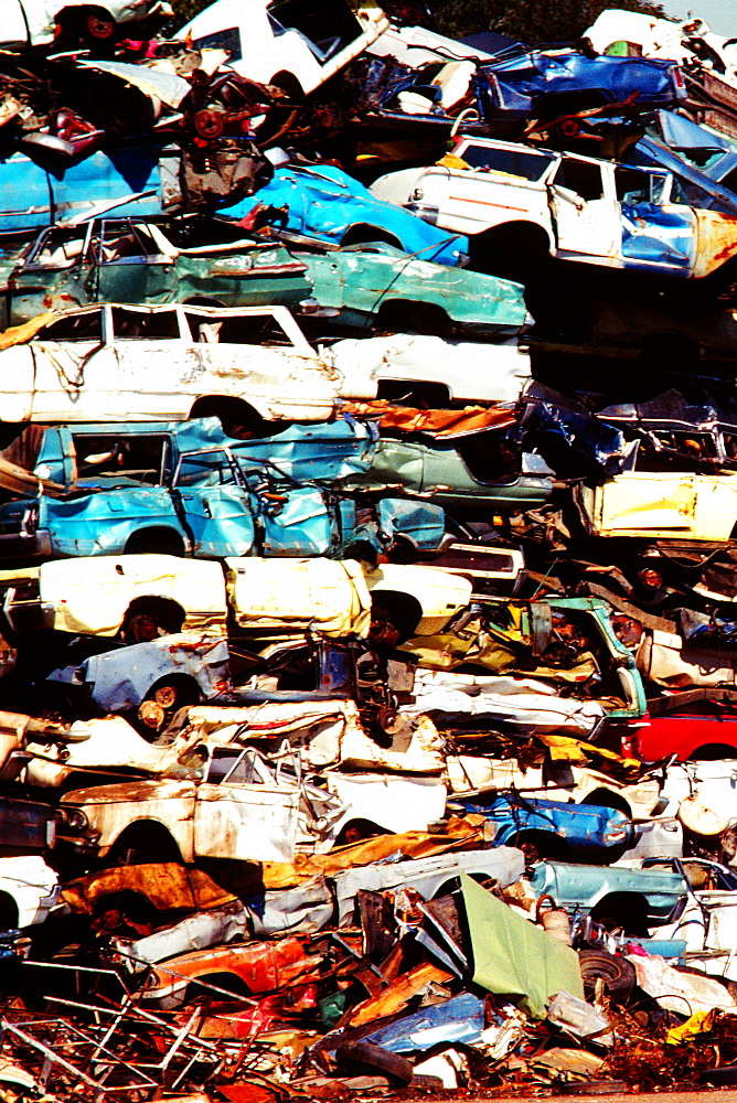 Close-up of a heap of cars in a junkyard - 788-8603