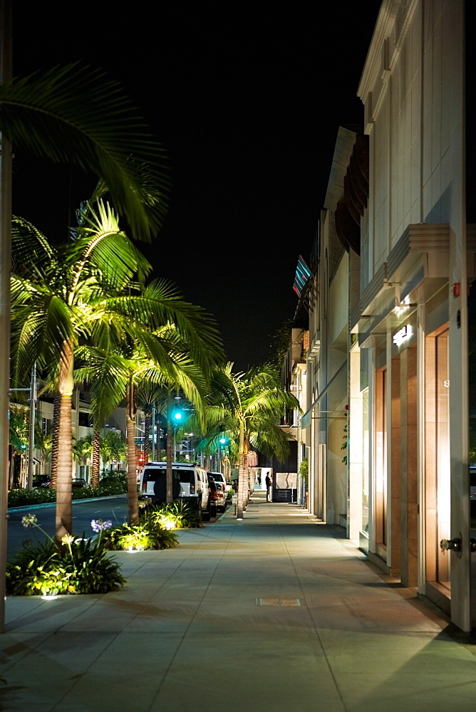 Sidewalk at the Rodeo Drive at night, Los Angeles, California, USA