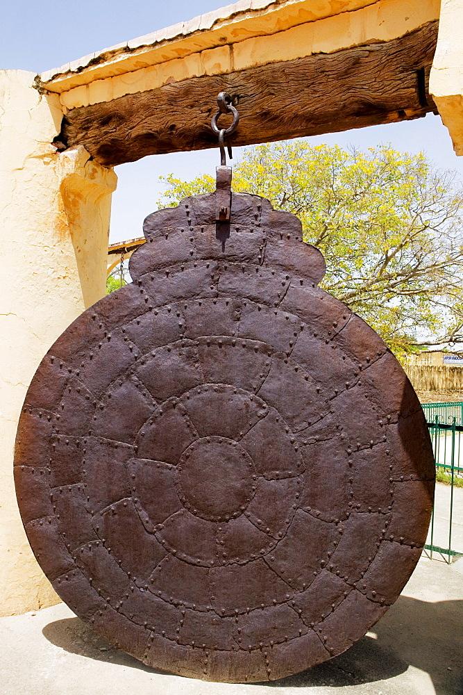 Close-up of a metal gong, Jantar Mantar, Jaipur, Rajasthan, India
