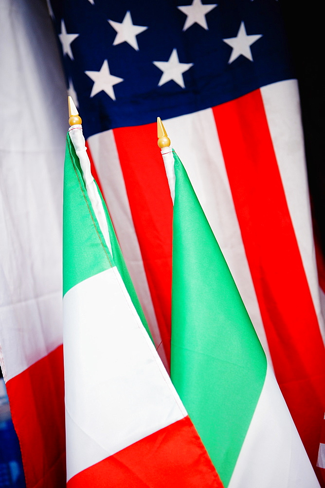 Close-up of American and Italian flags