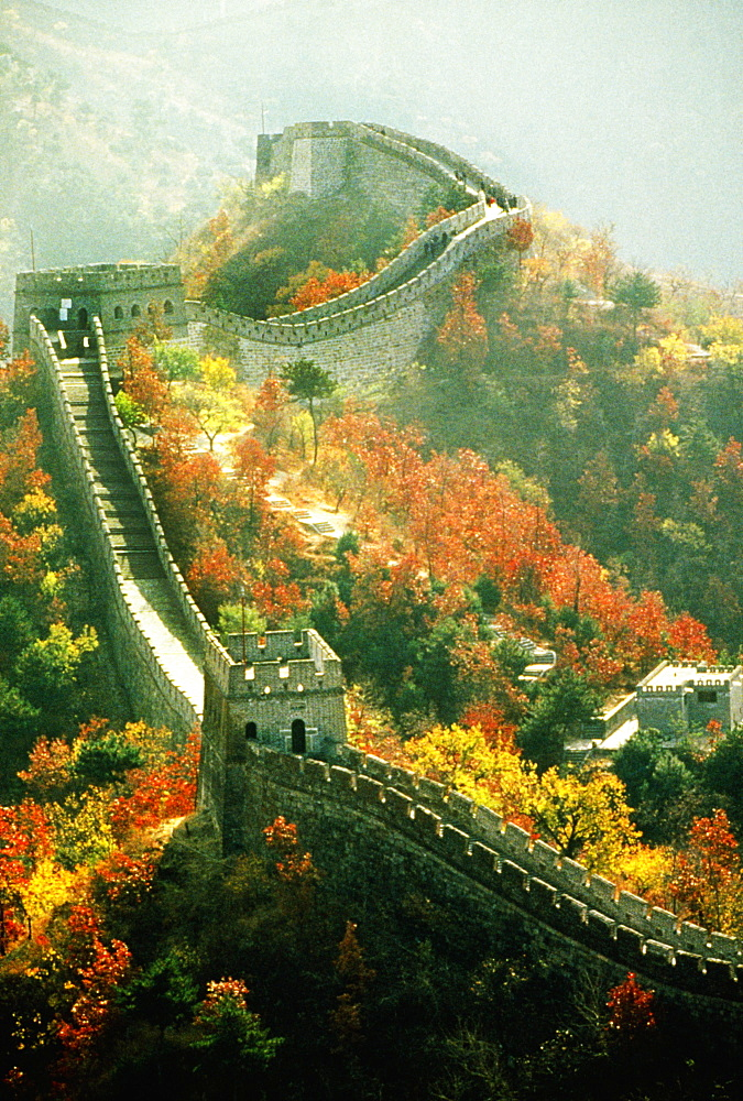 High angle view of Great Wall of China, Beijing, China