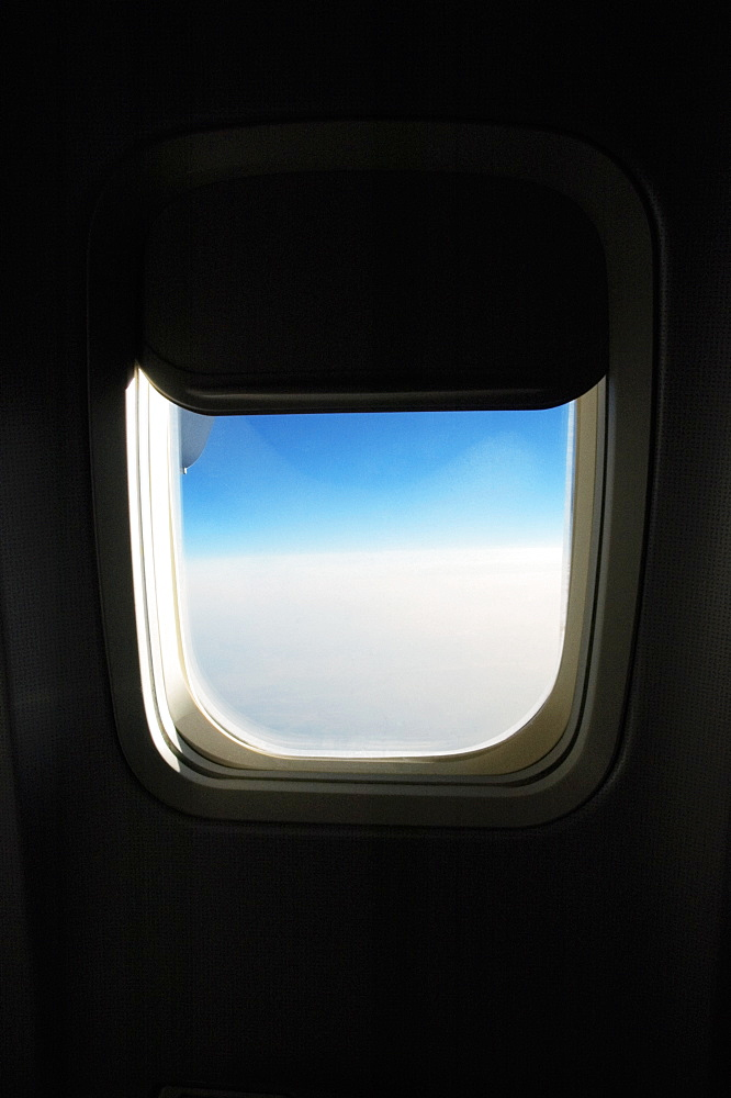 Close-up of an airplane window