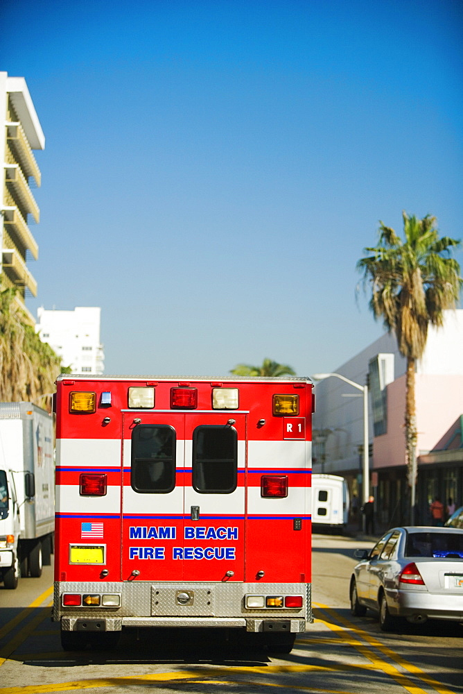 Fire engine on the road, Miami, Florida, USA