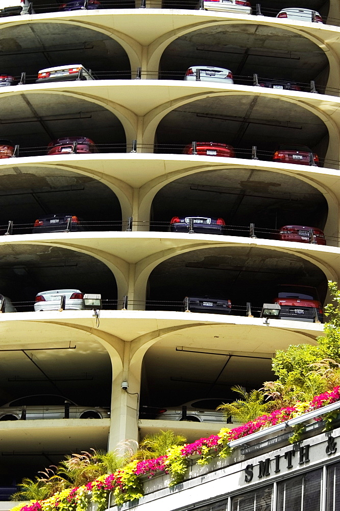 Low angle view of a parking lot, Marina City Complex, Chicago, Illinois, USA