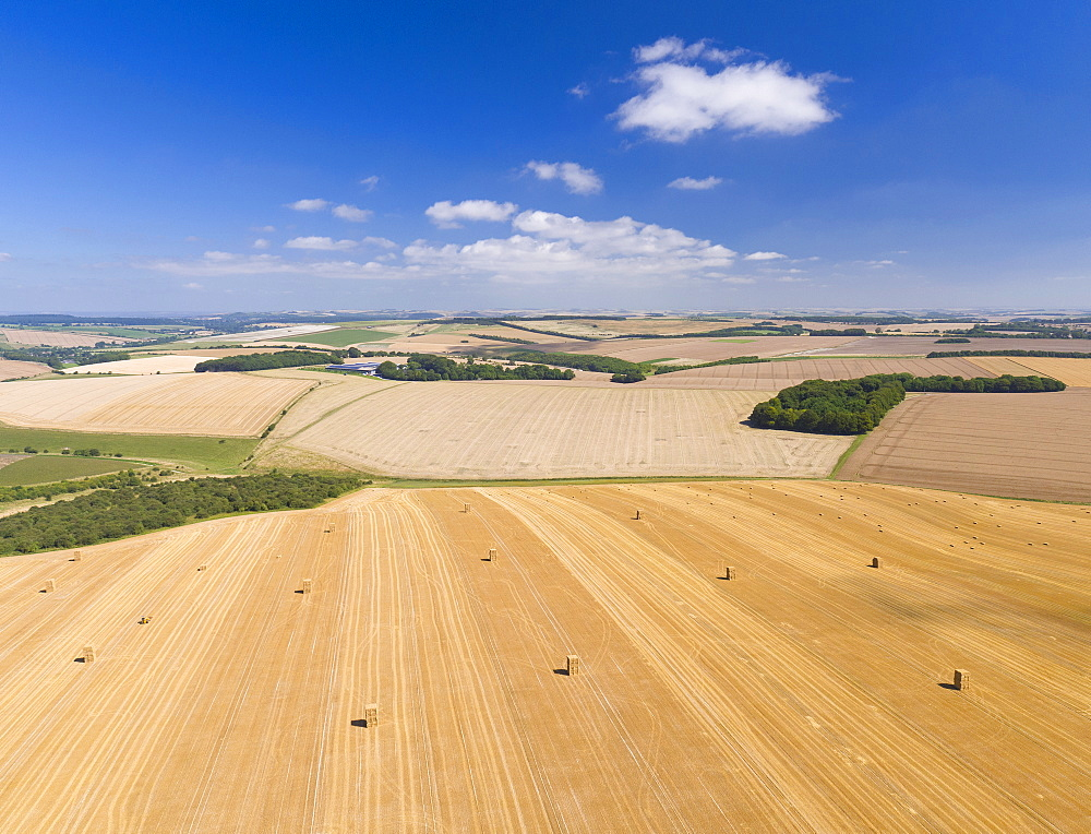 Aerial View Of Harvested Farm Fields With Bales Of Straw (Drone) - 786-10222