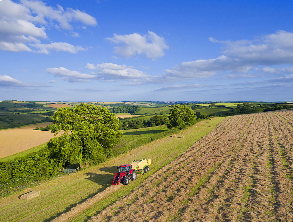 Aerial View Of Tractor Baling Hay In Field (Drone) - 786-10225