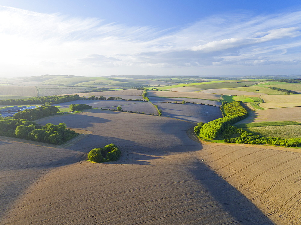 Aerial View Of Farm Fields With Blue Sky (Drone) - 786-10237