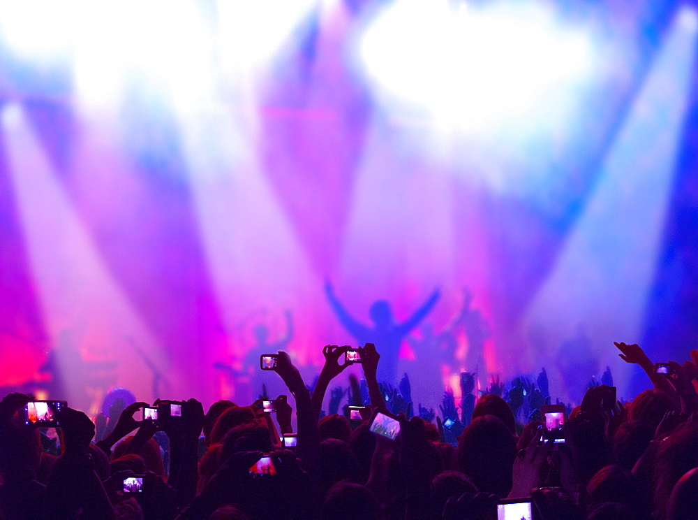 Fans At Concert Enjoy Music And Take Photos On Cellphones - 786-10241