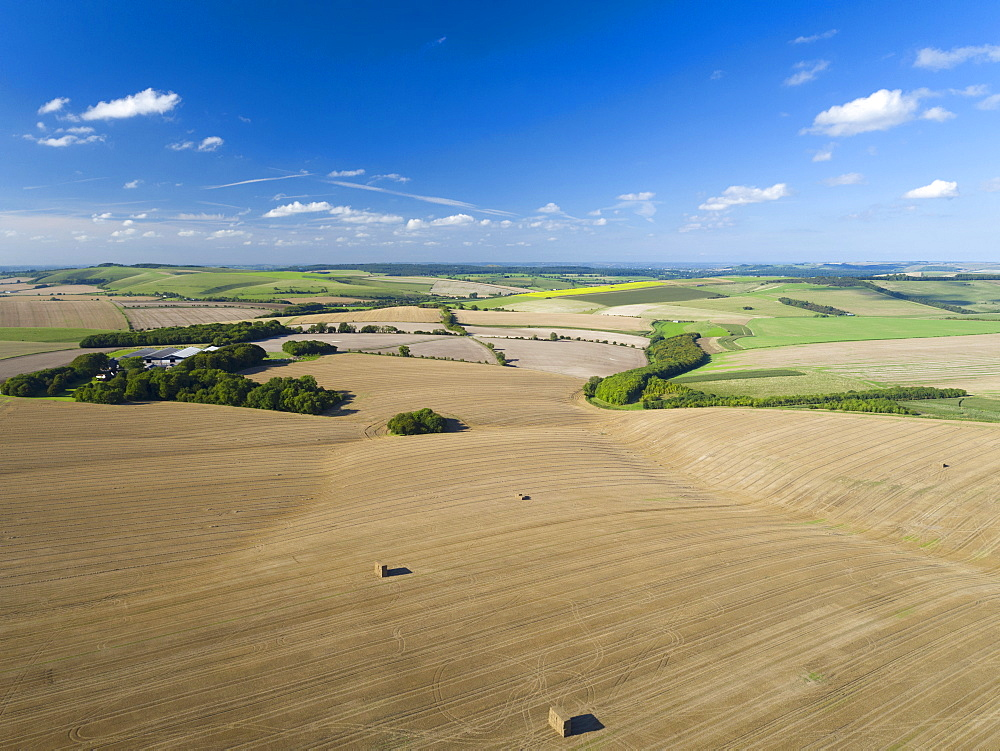 Aerial Landscape Of English Farm Fields After Harvest - 786-10252