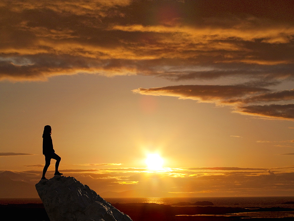 Silhouette Of Woman Standing On Mountain Peak At Sunset - 786-10286
