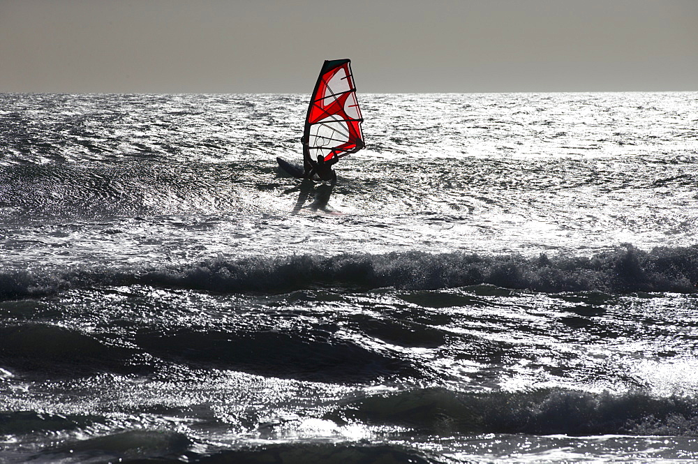 Silhouetted windsurfer windsurfing on sunny windy ocean