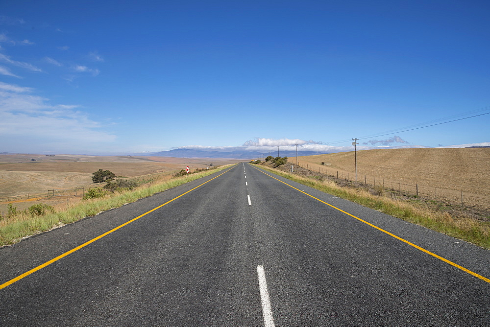 Straight Country Road Leading Through Arid South African Landscape