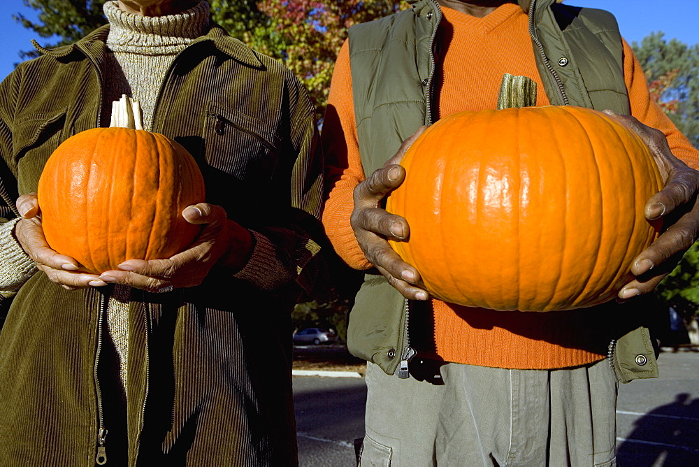 Couple holding pumpkins side by side, close-up, front view, mid-section