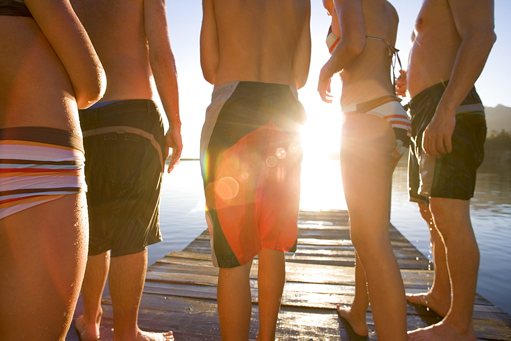Five family members, in swimwear, standing on lake jetty at sunset, mid-section, rear view (lens flare, backlit) - 786-2160