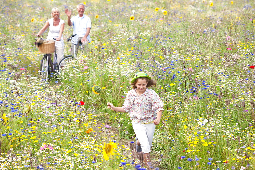 Senior couple standing with bicycles on path through wildflowers in field watching granddaughter - 786-7788