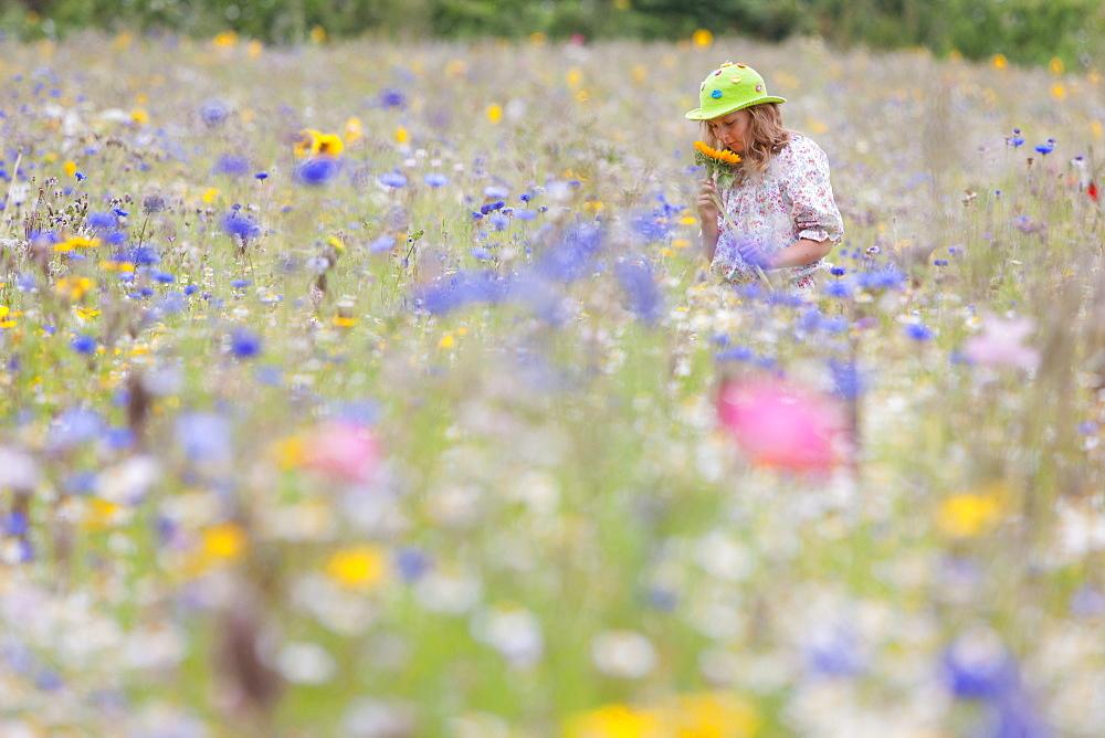 Girl standing in field of wildflowers smelling sunflower